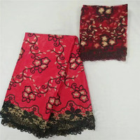 T2!2017 Hot sale nigerian african swiss lace beautiful swiss voile bazin riche lace fabric for wedding (5+2yards/set) ! L80816