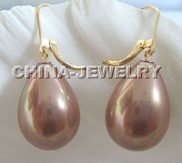 15x10mm Natural Champagne South Sea Shell Pearl Earring Dongguan Girl Jewerly Store Free Shipping