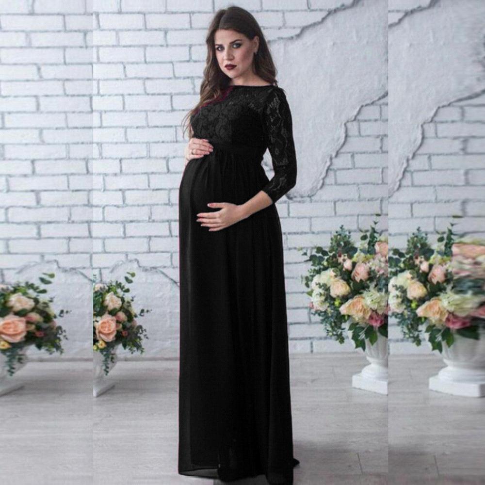 Robe de soirée élégante en mousseline de soie robes enceintes manches longues modestes robes de maternité femmes d'été robe de grossesse longue grande taille - 4