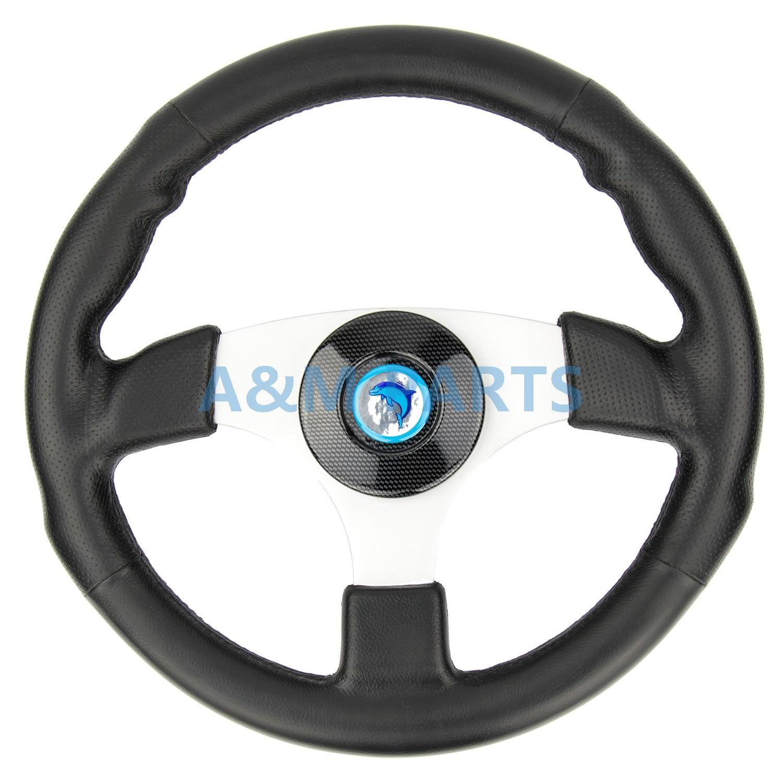 Marine Boat Steering Wheel Soft Polyurethane Leather Grip White Alloy Spoke savanini new universal fits racing sport 13028 350mm pu leather deep dish alloy steering wheel