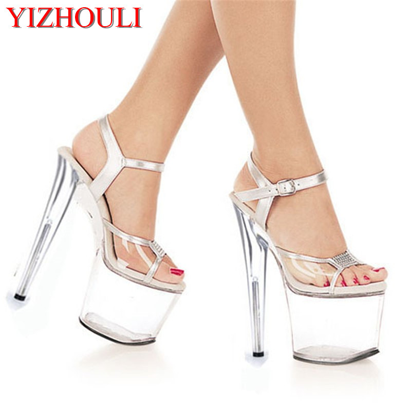 8 Inch clear Shoes Sexy Stripper Shoes 2016 Sexy 20cm Temptation Crystal sandals Platform Ultra High Thin Heels 15cm ultra high heels sandals ruslana korshunova platform crystal shoes the bride wedding shoes