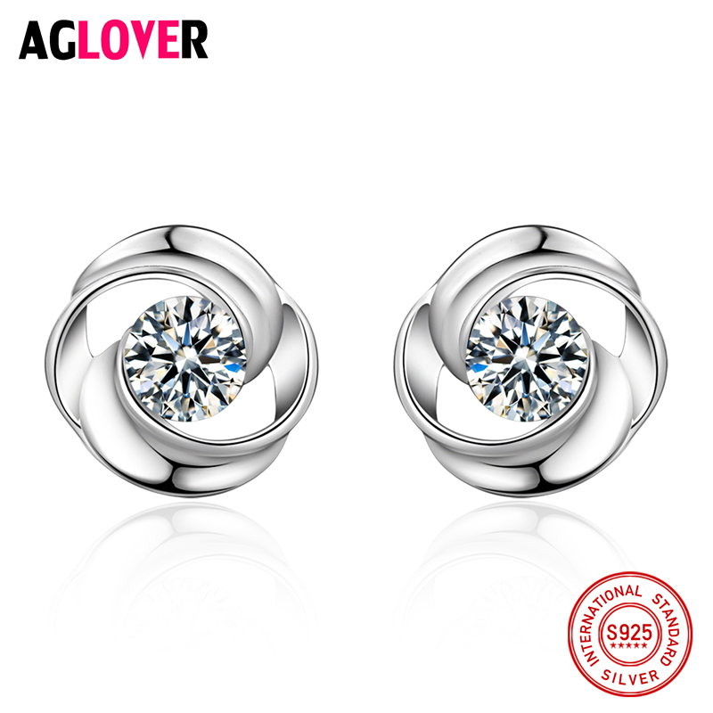 Fine Nice Woman Stud Earrings Pure 925 Sterling Silver Exquisite Flower High Quality Fashion Classic Jewelry