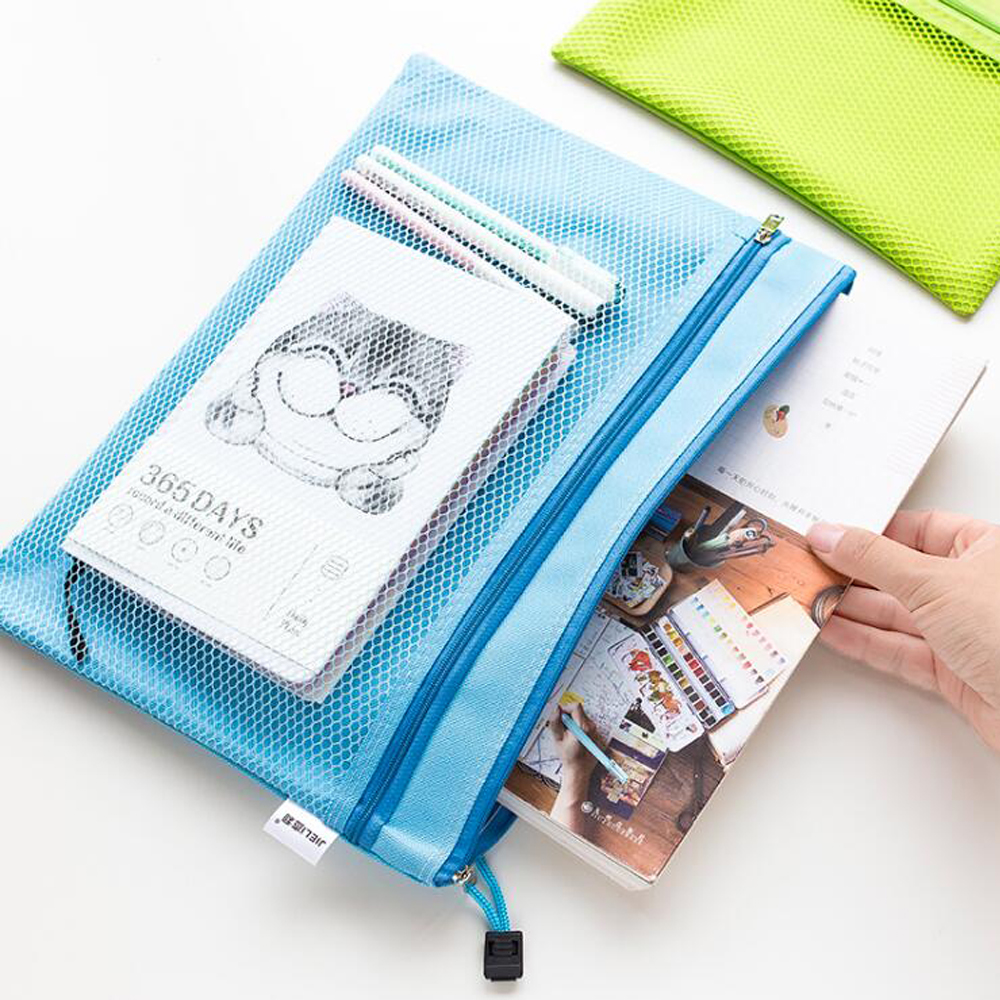 Document Bag A4 Double Waterproof Oxford Cloth Mesh Zipper Bag Planner Receives Cloth Bags Material File Pocket Escolar Papelari