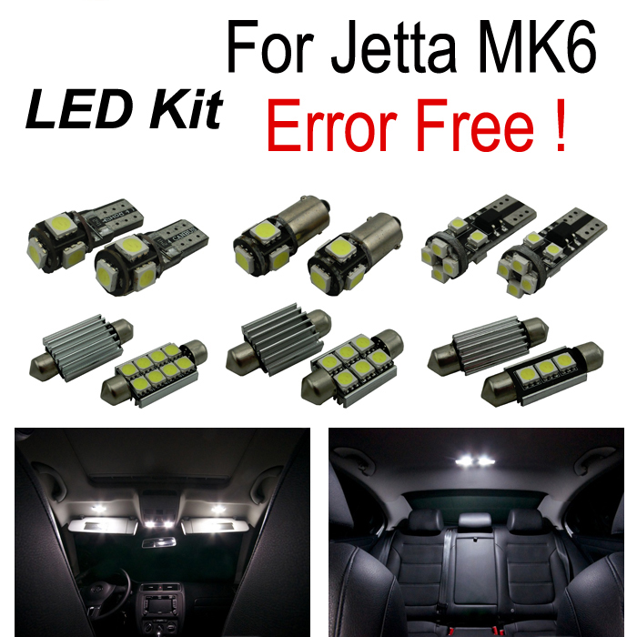 17pc X Error Free for Volkswagen VW for Jetta 6 MK6 MK VI LED interior lamp reverse light parking city bulb kit (2011+) high bright car headlights led bulb d33 h1 free canbus auto led white headlamp with yellow lights for vw jetta volkswagen golf 6