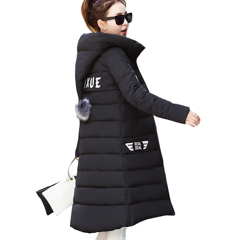 все цены на  2017 hot sale women winter coat pink black female slim hooded cute jacket plus size warm long parka jaqueta feminina overcoat  в интернете