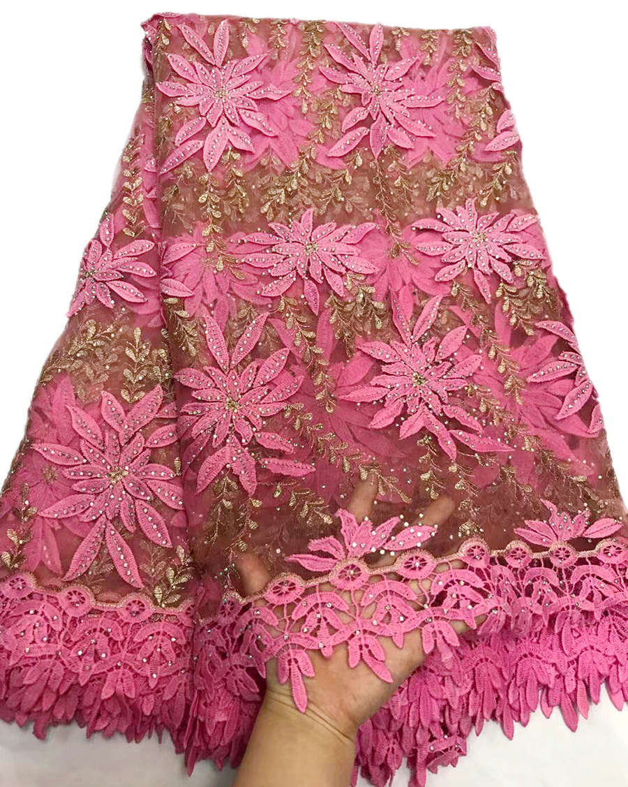 Newest style pink African Lace Fabric Embroidered Nigerian Laces Fabric High Quality French Tulle Lace Fabric for wedding dress