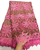 Newest Style Pink African Lace Fabric Embroidered Nigerian Laces Fabric High Quality French Tulle Lace Fabric