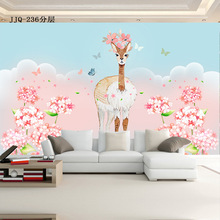 Romantic cute Sika deer wallpaper warm pink girl children room bedroom 3D TV background wall decoration custom mural