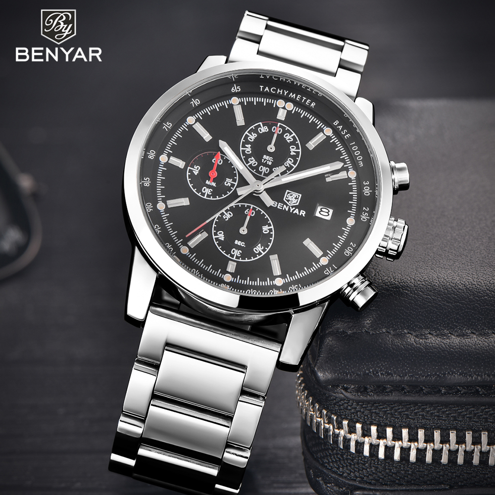 BENYAR Luxury Brand Silver Men Watch Stainless Steel Leather Band Quartz Military Sport Wrist Watch Man Clock relogio masculino new 2017 relogio masculino reloj watch men quartz sport military stainless steel dial leather band wristwatch clock gift1114d 50