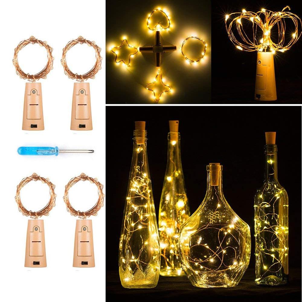 4 Pcs Led Cork Fairy Lights Wine Bottles String Lights