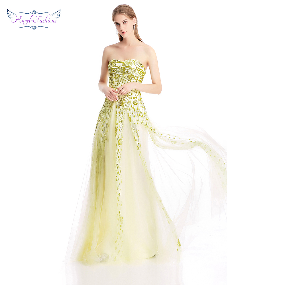 Angel-fashions Sweetheart Twinkling Flowers Sequins Illusion Long Prom Dress Champagne 373