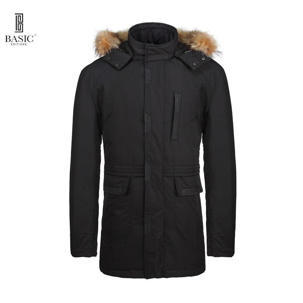 Basic Editions Mens Winter Fur Hood Casual Parka Down Jacket Coat - BC1-027Y