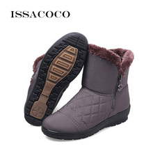 ISSACOCO Winter Snow Boots Women Boots Female Waterproof Ladies Snow Boots Girls Winter Shoes Woman Plush Insole Botas Mujer women winter walking boots ladies snow boots waterproof anti skid skiing shoes women snow shoes outdoor trekking boots for 40c
