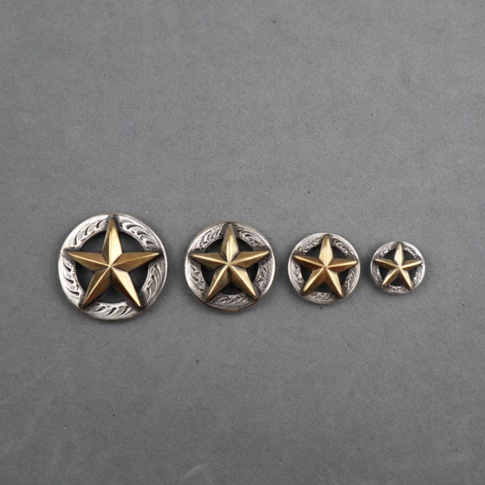 DIY Leathercraft Hardware Texas Star Concho SRTP Finish With Gold Star