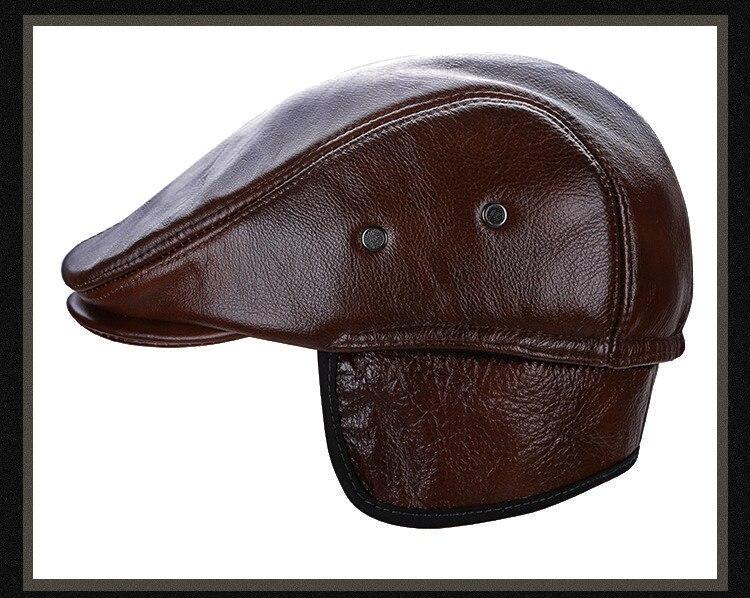 men leather captain hat natural cow (25)