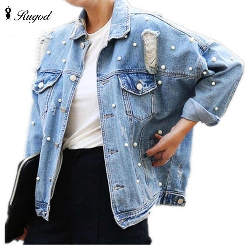 ba264b25c0f RUGOD 2018 Spring Pearls Beading Ripped Denim Jacket Women Vintage Single  Breasted Long Sleeve Jean Jackets