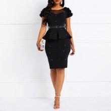 Bodycon Dress Women Ruffles Beading Black Elegant Party Stylish Solid Pink Summer Casual Evening Female Club Wear Sexy Dresses