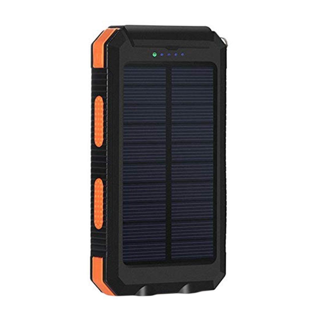 Водонепроницаемый Банк солнечной энергии для iPhone Двойной USB портативный повербанк с компасом двойной светодиодный фонарик 6000 mAh внешний аккумулятор - Цвет: orange