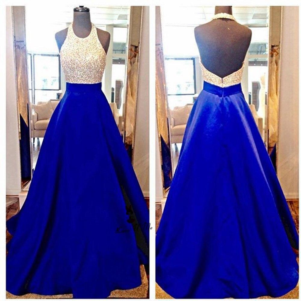 2018 Azul Royal Rosa Halter Backless do Baile de finalistas Vestidos Longos de Cetim Pérolas Até O Chão Vestido de Formatura de Noite Formal Do Partido Vestidos - 2