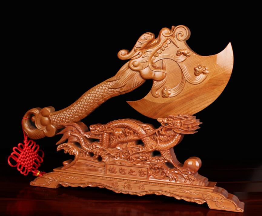 Momoki. dragon pêche hache déplacer les choses Jared tête de dragon hache sculpture sur bois se marier assis accessoires pour la maison