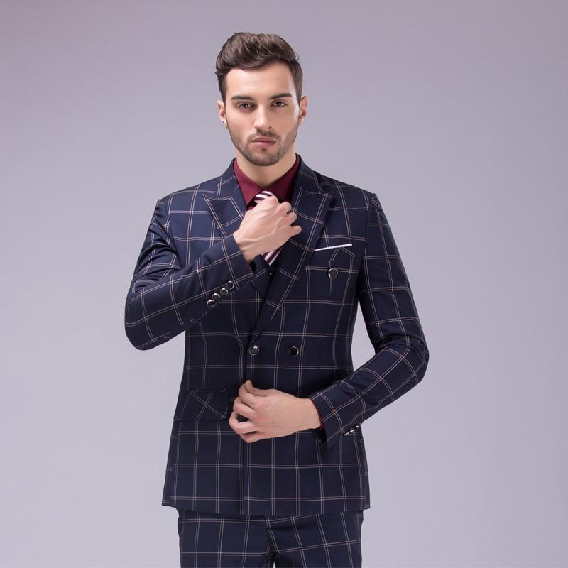 Jacket+vest+pants)Mens Double Breasted Plaid Suits Slim Fit Business ... 27d7abaa390