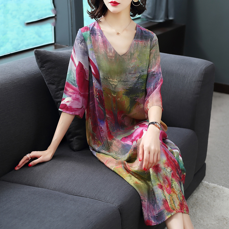 Imitate Real Silk Dresses Loose Women Print Dress 2018 Summer New Pattern Half Sleeves Plus Size Dress Lady Beach Casual Costume