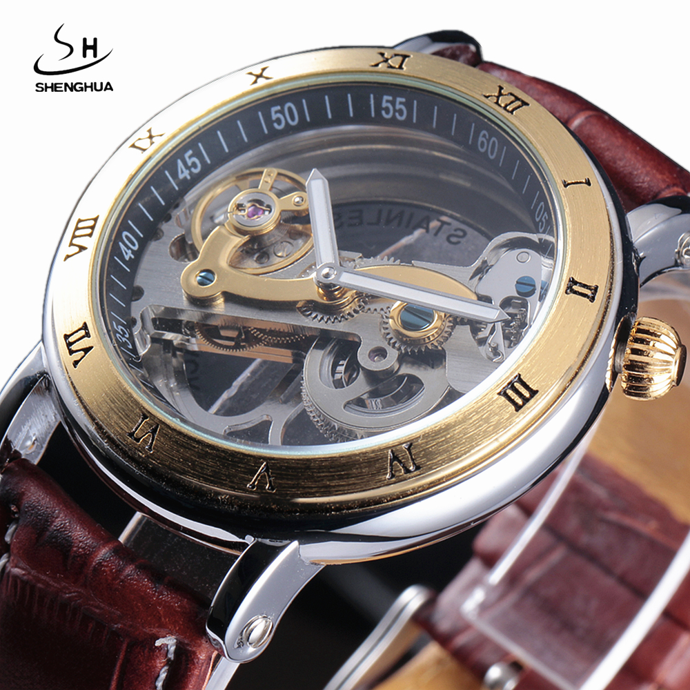 цена на Luxury Rhinestone Skeleton Watches Men Automatic Self-wind Men's Watches Fashion Casual Watches Leather Band Relogio Masculino