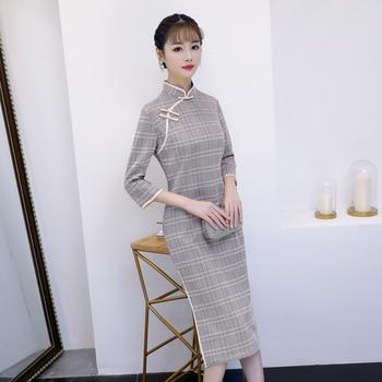 bba956ca94a 2019 Весна по колено Cheongsam мода Китайский цветы платье женские замшевые  Qipao Тонкий платья для вечеринок Леди Кнопка Vestido S-4XL