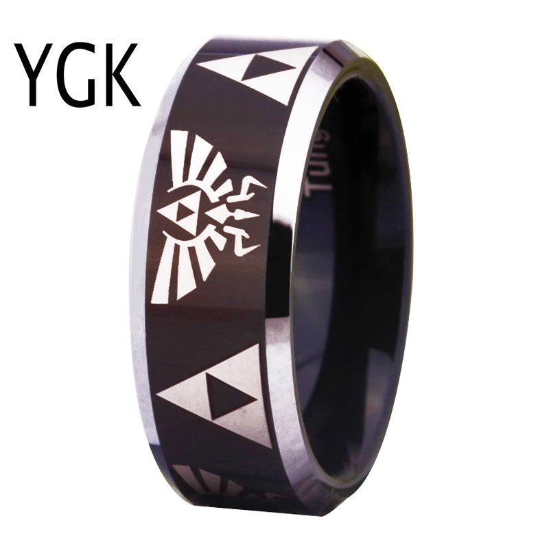 YGK Merke smykker Hot Sales 8MM Svart med sølvfelling LEGEND OF ZELDA Tungsten Carbide menns ring