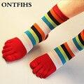 7Pairs/lot Four Seasons Women Socks 100%Cotton Five Finger Toe Breathable Warm Absorb Sweat Girl Elasticity Rainbow Sock WZ92