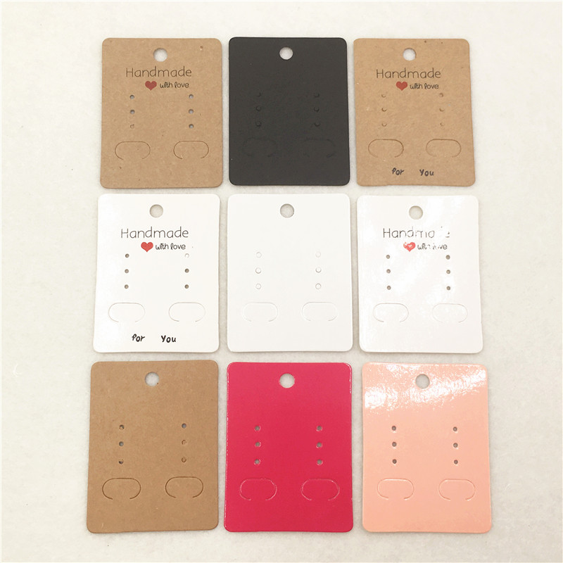 100pcs 6.5*5cm Kraft Paper Diy Stud/Drop Earring Packing Cards Cardboard Earring Products Displays Card Jewelry Cards