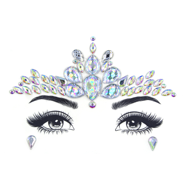 Glitter Face Jewelry Sticker Temporary Tattoo Party Face Makeup Tools rhinestones Flash tattoo stickers 4