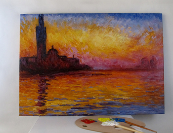 Handmade oil painting Reproduction of San Giorgio Maggiore at Dusk by Claude Monet