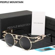 Pueblo de Montaña HD Polarizadas Steampunk Gafas de Sol Hombres Retro Ronda Marca Hip Hop Lente de Gafas de Sol Unisex Gafas de Sol de Moda
