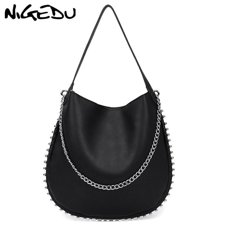 48e87c6cb24f NIGEDU Rivets Women Handbag Large Capacity Shopping Bag Fashion Chain Women s  Shoulder messenger Bags PU Leather Female Totes - aliexpress.com - imall.com