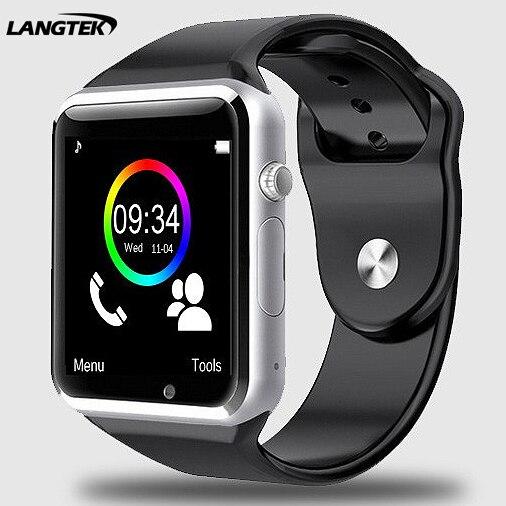 imágenes para Langtek bluetooth a1 reloj bluetooth smart watch deporte podómetro con sim cámara smartwatch para android smartphone