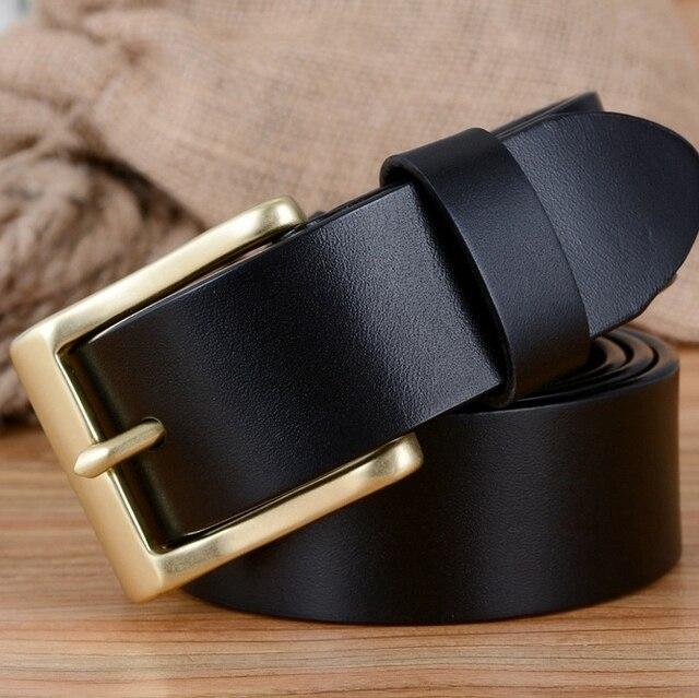 Твердая латунь пряжка 100% неподдельный кожаный пояс для мужчин мужские ремни роскошь 2017 дизайнер ceinture homme высокое качество cinto мужской