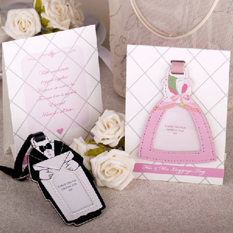 Factory directly sale NEW ARRIVAL Wedding favor Novelty Bride and Groom Luggage Tag 50pairs=100pcs/lot Free shipping