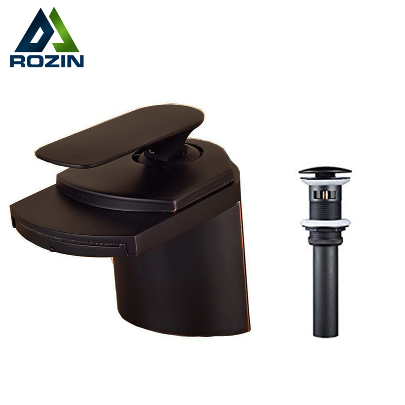 Oil Rubbed Bronze Waterfall Short Basin Sink Faucet Deck Mount  Bathroom Single Handle Vanity Mixer Tap with Pop Up Drain luxury bathroom basin sink pop up drain brass with