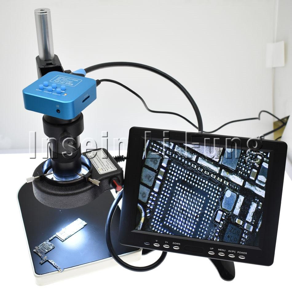 Full HD 16MP 1080P 60FPS HDMI USB Industrial Digital Electron Microscope Camera+8X-130X C-mount Lens+Bracket+LED Light Source ir digital 1080p 16mp hd hdmi usb industrial video recorder microscope camera 130x lens 56 led light for lab phone repair