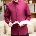 TG6355 Cheap wholesale 2016 new Men's cultivate one's morality is pure color business leisure big yards long sleeve shirt
