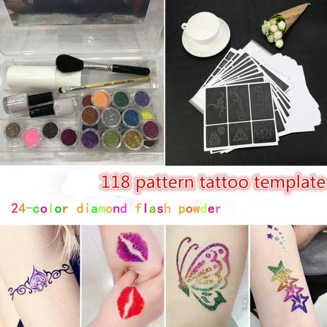 Hot New Fashion Tattoo Stencil Makeup Glitter Tattoo Powder Tattoo Body Painting Kit Brushes Glue Stencils