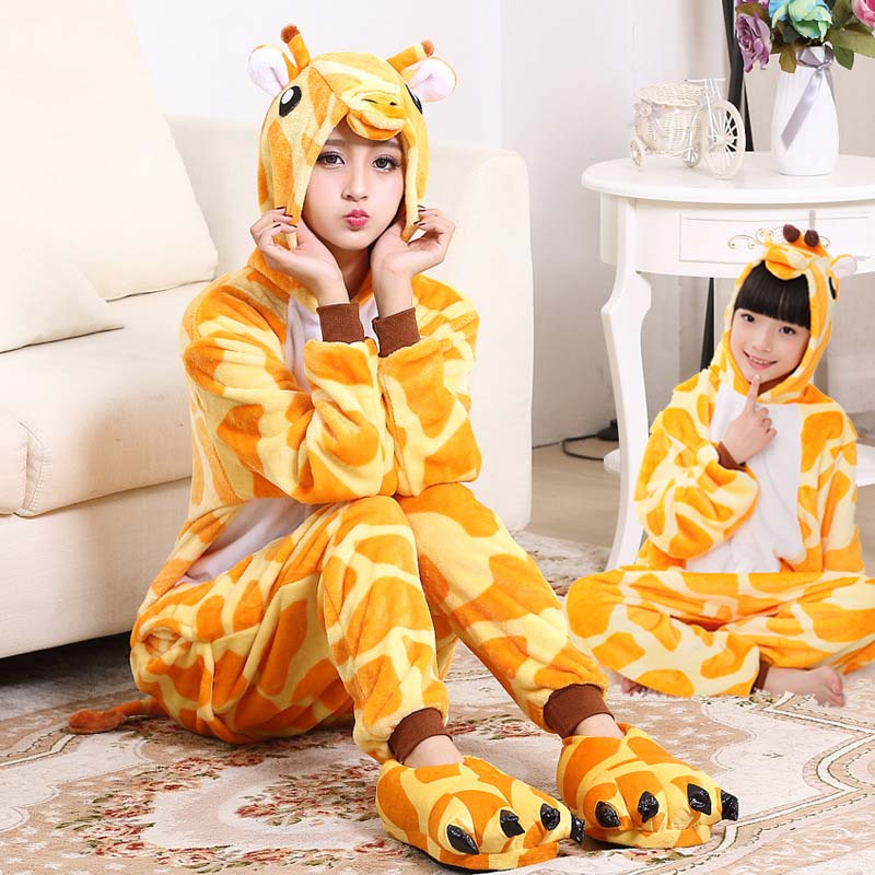 Flannel Giraffe Kigurumi Animal Jumpsuit For Adult Onesie Pajamas Kids One-Piece Sleepwear Pyjamas Cosplay Home Carvinal Party