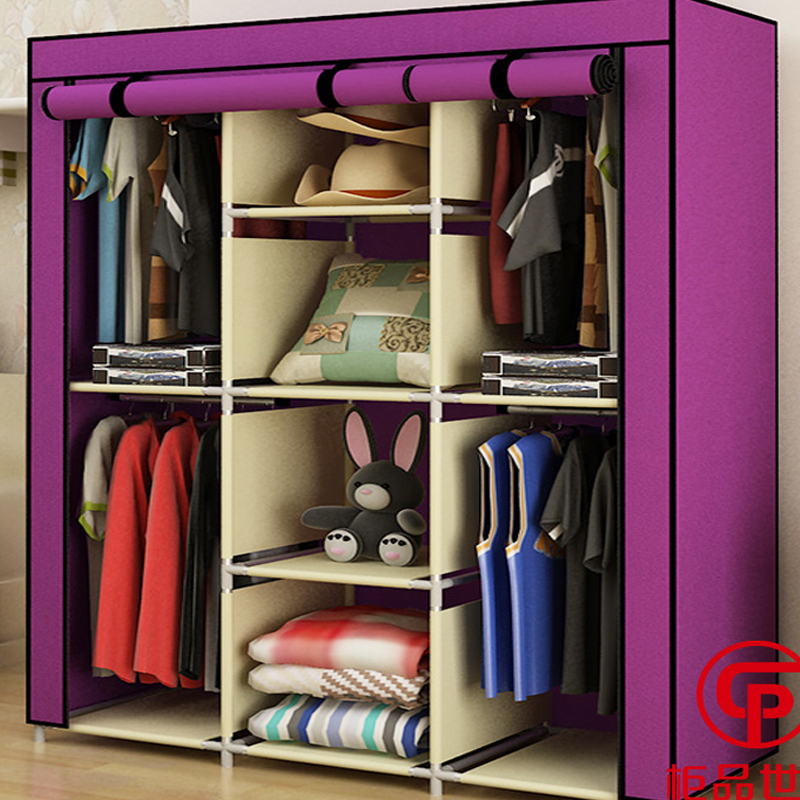 Cabinet Three Rows Of Four Product Family Hanging Clothes Rod Rolling Doors Easy Embly Tuba Simple Wardrobe Cloth Wardrob In Wardrobes From Furniture