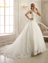 Bealegantom New Lace V-Neck Wedding Dresses 2017 with Beaded Appliques Plus Size Bridal Gowns Vestido De Novia QA1133