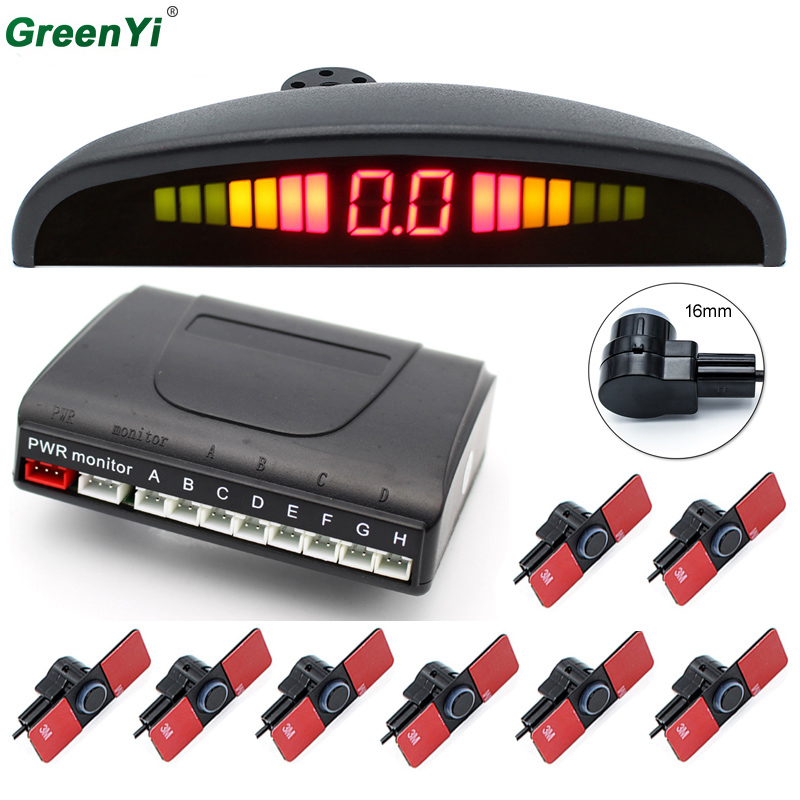 Car Parking Sensors 8 Sensors 13mm flat parking Sensors 4 Front 4 Rear LCD Display Voice