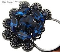 1 шт. высокий класс 10 см Стразы Мех животных пуговицы черный цветок Пуговицы для пальто с мехом или сумки декоративные кожаные пряжки, кнопки