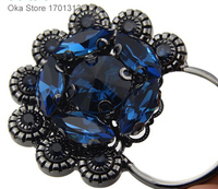 1pc High grade 10cm Rhinestones Fur buttons Black flower Buttons for fur coat or bags Decorative Leather buckle buttons