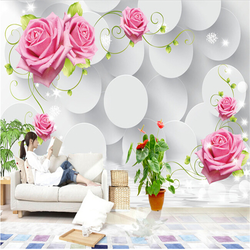 Beibehang Roses 3d Murals For Living Room Entrance Wall Paper Background  Painting Background Photo Wallpaper Home Decoration In Wallpapers From Home  ...