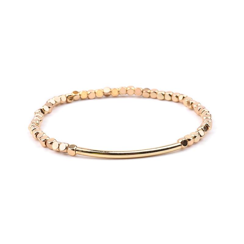 BOJIU многоцветные Кристальные браслеты для женщин золотые акриловые медные бусины розовый белый черный серый женский браслет с кристаллами BC226 - Окраска металла: 2-Gold
